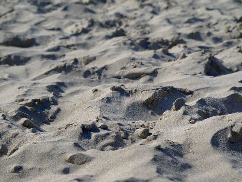 Stäng sig upp av naturlig seende ojämn sandig jordning på stranden royaltyfria foton
