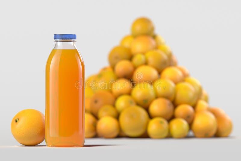 Stäng sig upp av ny orange fruktsaft i flaska på ljus bakgrund framf?rande 3d arkivbild