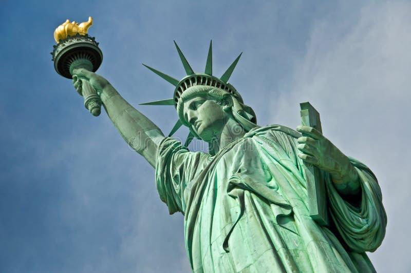 Stäng sig upp av statyn av frihet, New York royaltyfria bilder