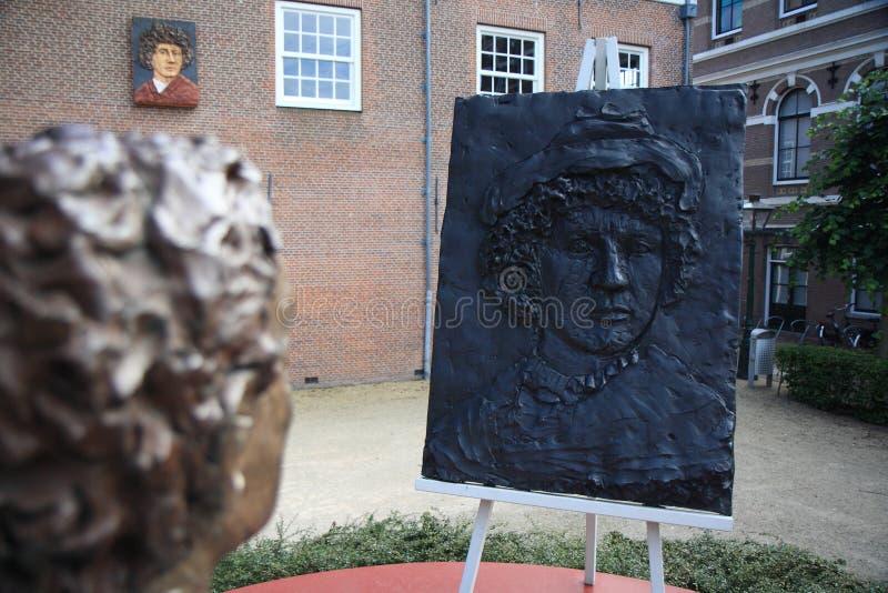 Stäng sig upp av statyn av unga Rembrandt royaltyfria foton