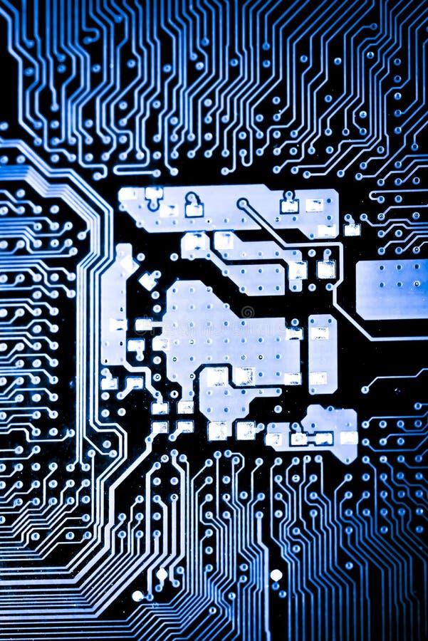 Stäng sig upp av strömkretsar som är elektroniska på brädet för logik för bakgrund för den Mainboard teknologidatoren, CPU-moderk arkivfoton