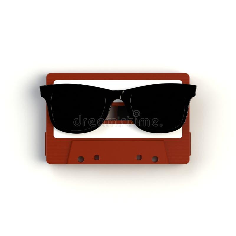Stäng sig upp av tappningljudbandkassetten med exponeringsglasbegreppsillustrationen på vit bakgrund royaltyfria foton