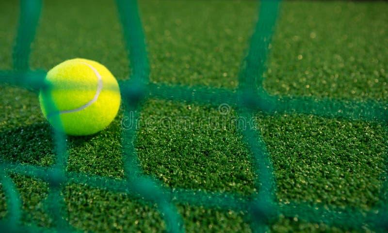 Stäng sig upp av tennisbollen som ses till och med netto royaltyfria foton