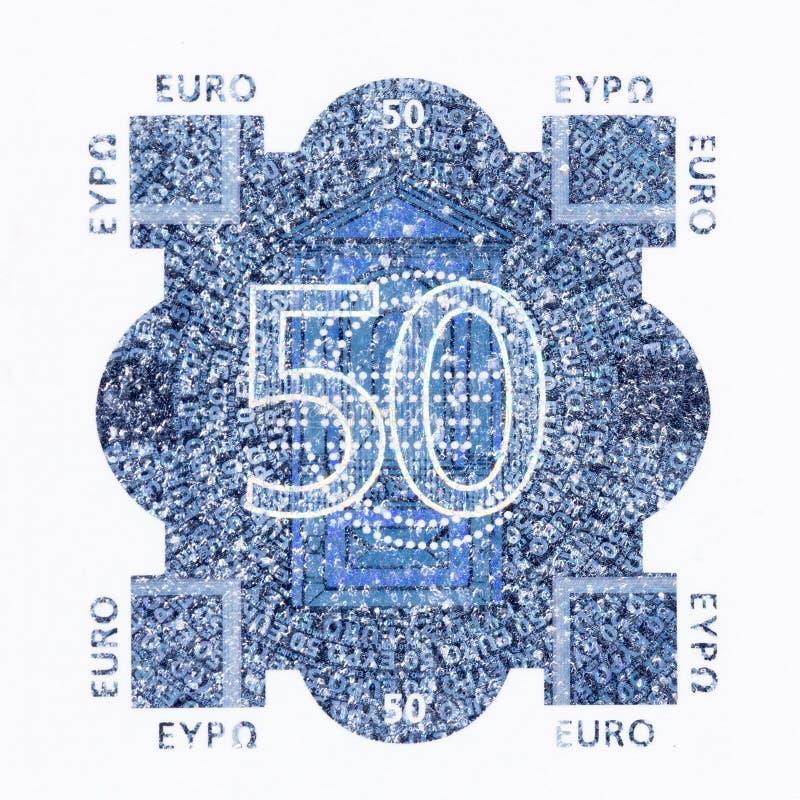 Stäng sig upp av valutatecken för euro femtio vektor illustrationer