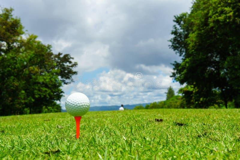 Stäng sig upp av vit golfboll på orange utslagsplats på grönt gräs med blå himmel och molnet kopiera avstånd för din text royaltyfria bilder