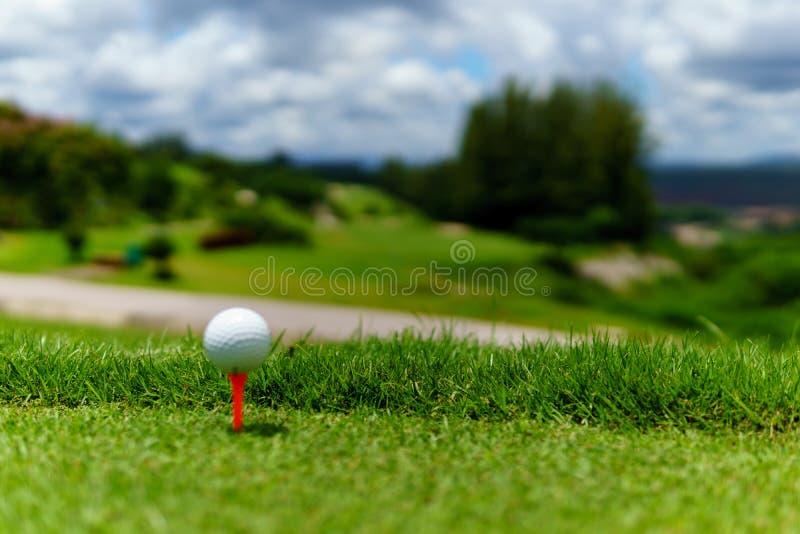 Stäng sig upp av vit golfboll på orange utslagsplats på grönt gräs med blå himmel och molnet och sikten av bergbakgrund i solig d royaltyfri fotografi