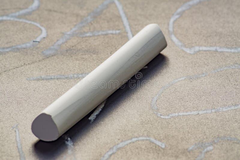 Stäng sig upp av vit krita på svart tavla med skriftliga ord fotografering för bildbyråer