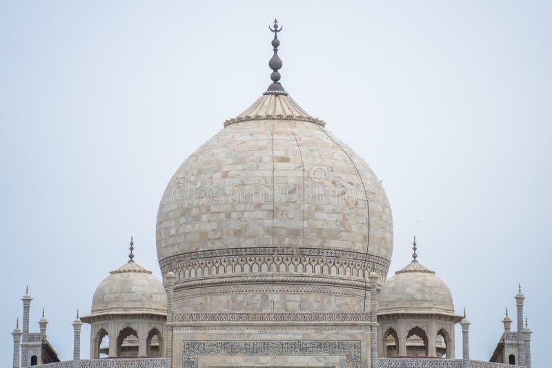 Stäng sig upp den Taj Mahal kupolen, Agra, Indien arkivfoto