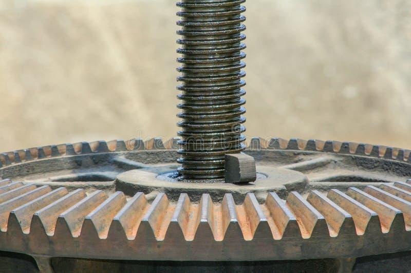 Stäng sig upp det mekaniska kugghjulet för metall på dammluckan rostig kugghjulbakgrund royaltyfria bilder