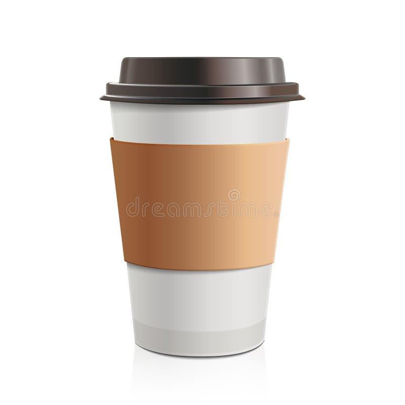 Stäng sig upp för avhämtning kaffe med den bruna lock- och kopphållaren På vitbakgrund vektor illustrationer