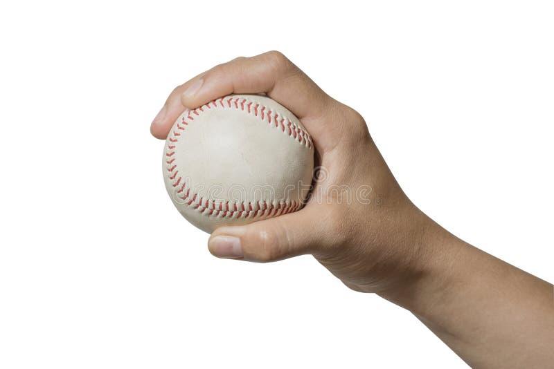 Stäng sig upp handen som rymmer en baseball på vit bakgrund royaltyfri foto