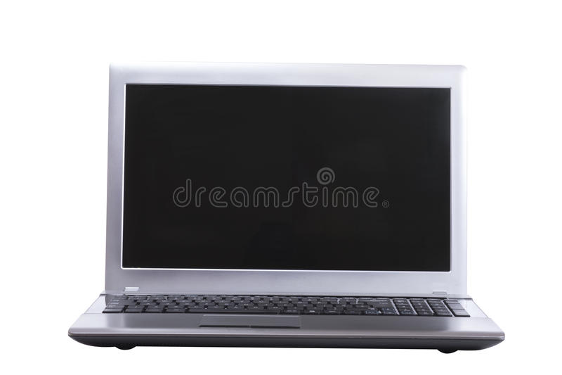 Stäng sig upp på en öppen bärbar dator med den tomma skärmen fotografering för bildbyråer