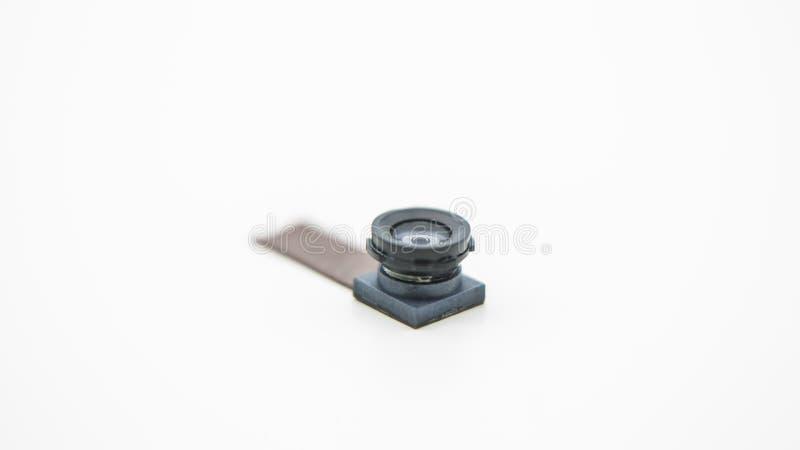 Stäng sig upp på en kameraenhet för mobiltelefon Closeup av Smartphone Lens arkivbild