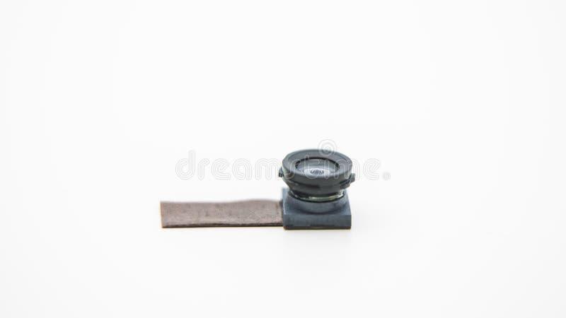 Stäng sig upp på en kameraenhet för mobiltelefon Closeup av Smartphone Lens royaltyfri fotografi