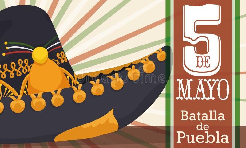 Stäng sig upp sikt av den Charro hatten för Cinco de Mayo, vektorillustration vektor illustrationer