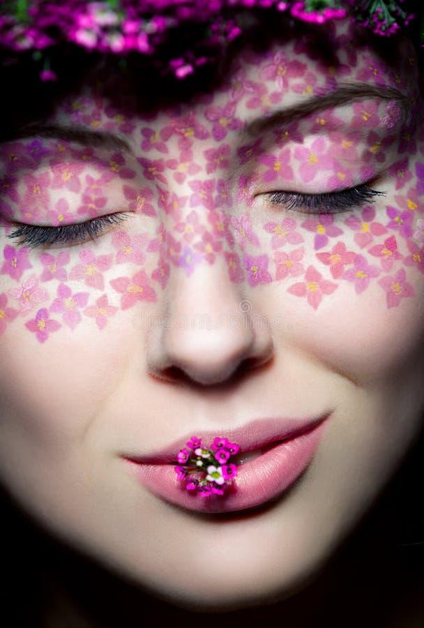 Stäng sig upp siktsståenden av model makeup royaltyfria foton
