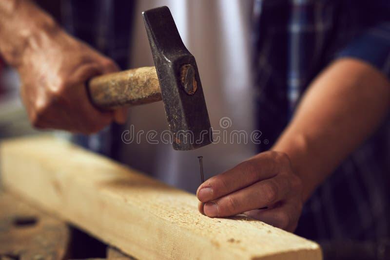 Stäng sig upp snickaren som bultar en spika in i träplanka royaltyfri foto