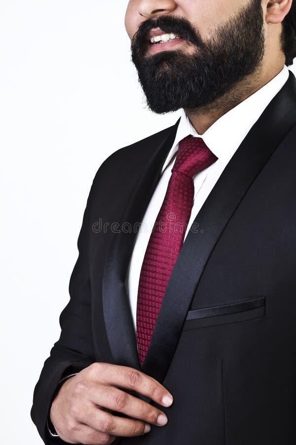 Stäng sig upp ståenden av affärsmannen, medan le arkivbilder