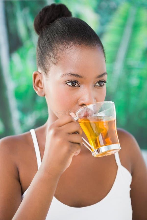 Stäng sig upp ståenden av en härlig ung kvinna som dricker ett te fotografering för bildbyråer
