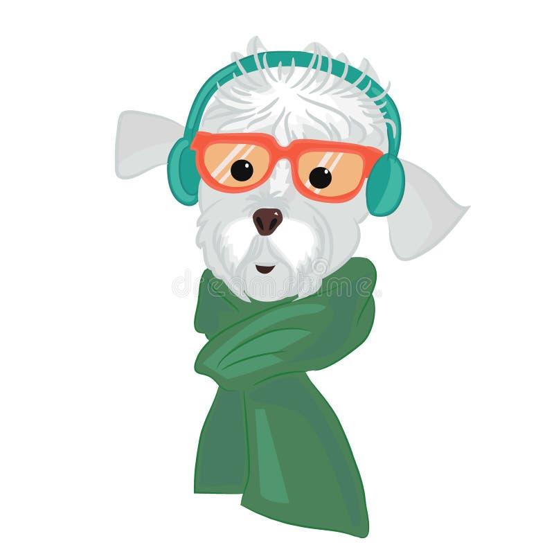 Stäng sig upp ståenden av en hund i hörlurar stock illustrationer