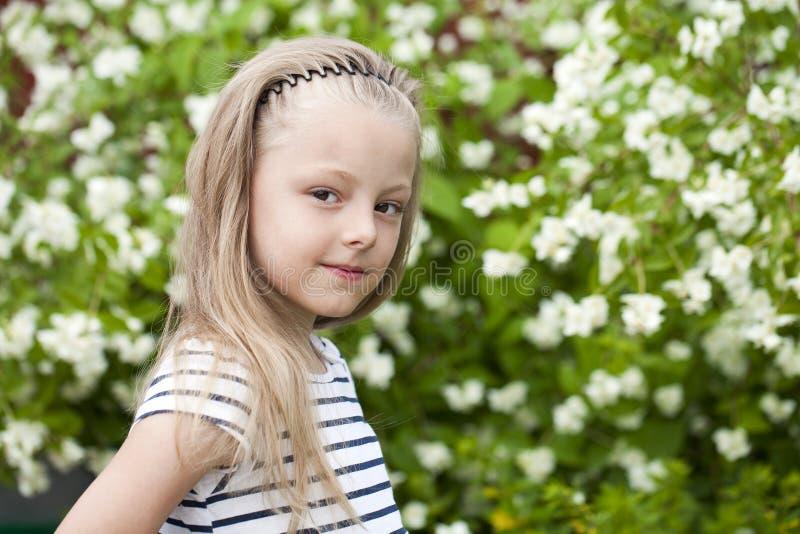 Stäng sig upp ståenden av en sju år liten flicka, mot backgroun royaltyfria bilder