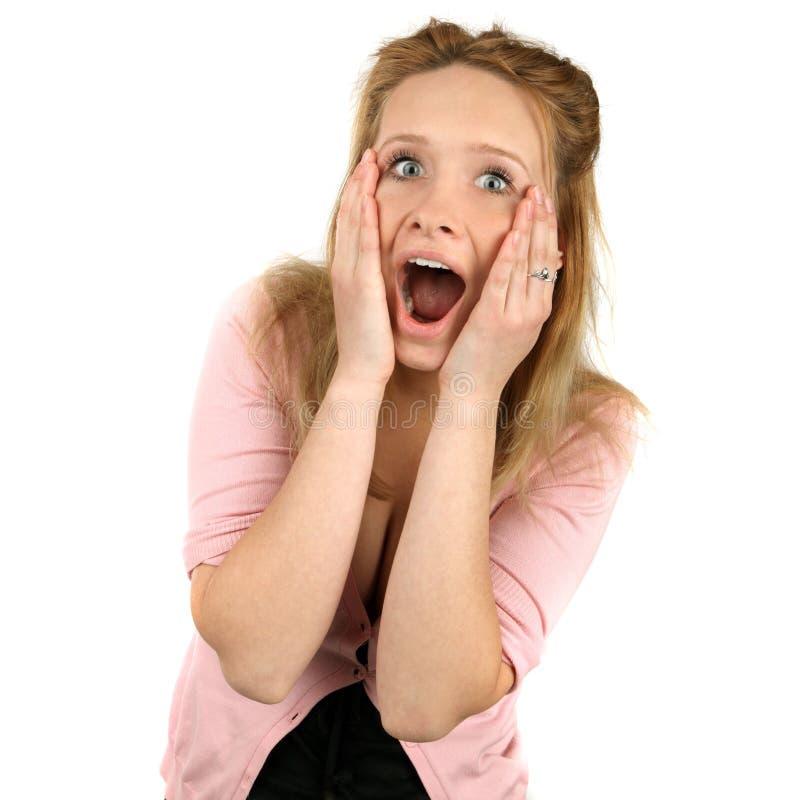 Stäng sig upp ståenden av härligt förvånade kvinnor för ett leende barn fotografering för bildbyråer
