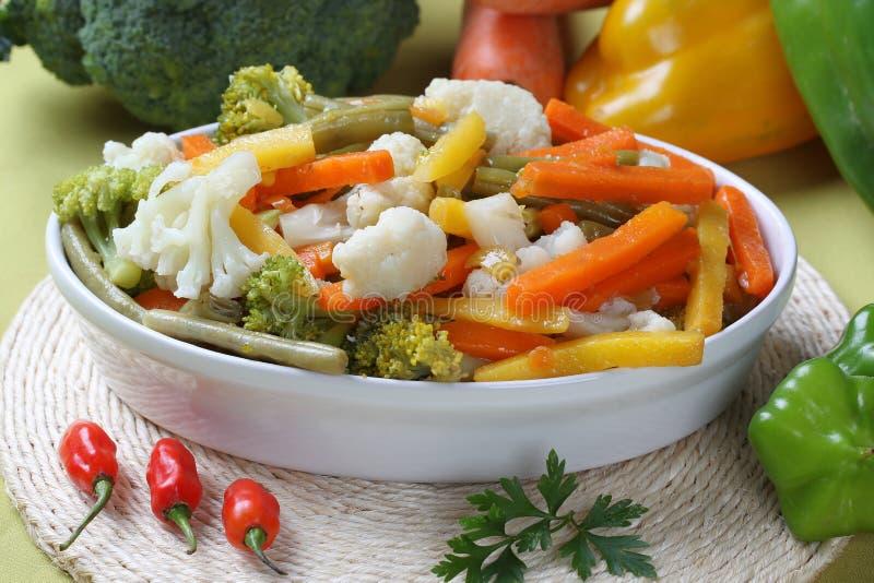 Stäng sig upp sunda nya salladingredienser med broccoli, blomkålen, moroten och peppar på bunken som förläggas på tabellen arkivfoton