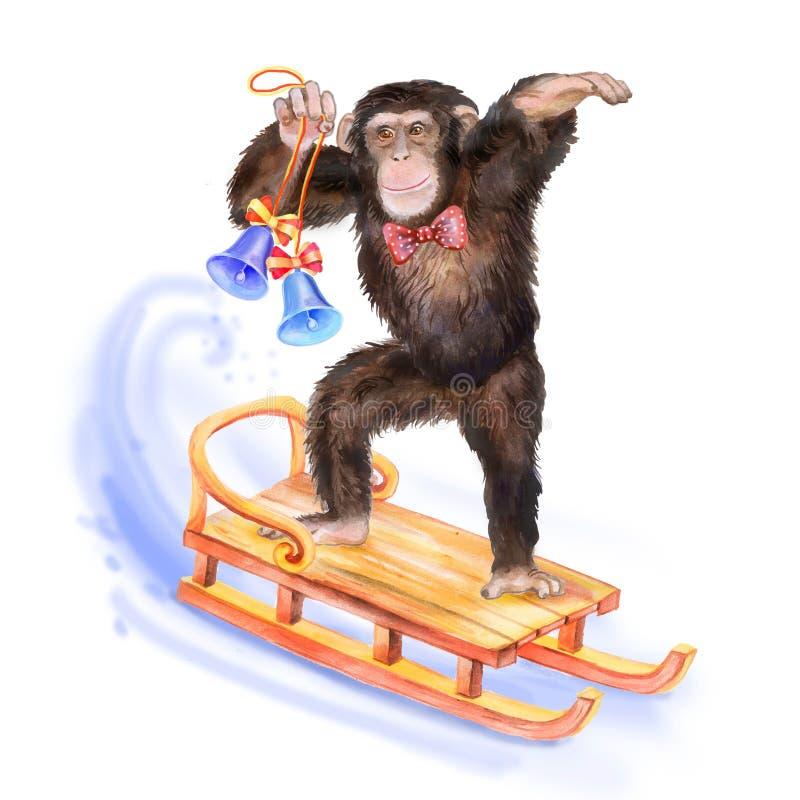 Stäng sig upp vattenfärgståenden av apan med manfjärilen vektor illustrationer