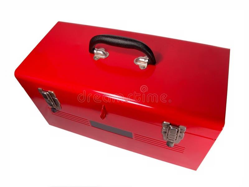 stäng upp den isolerade röda toolboxen arkivbilder