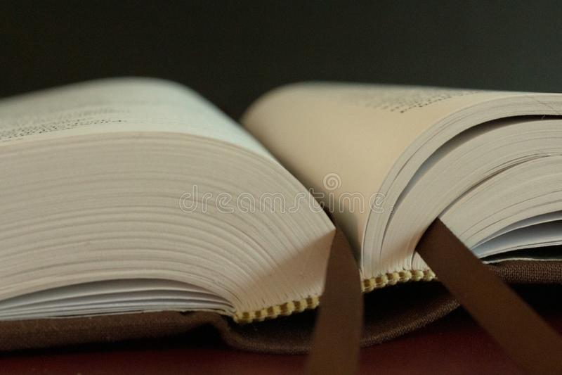Stäng upp makroen av bokmärken av en öppen bok royaltyfri fotografi