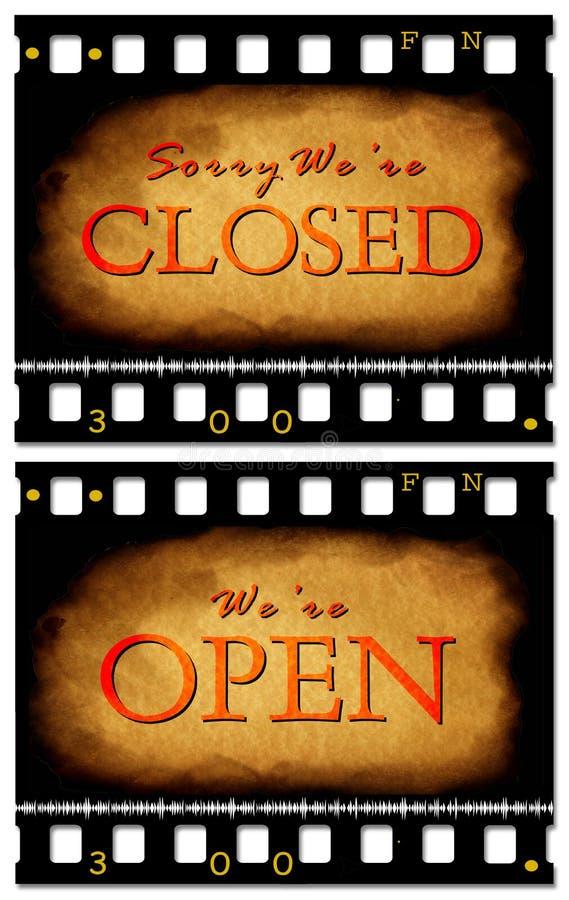 stängd öppen etikett stock illustrationer
