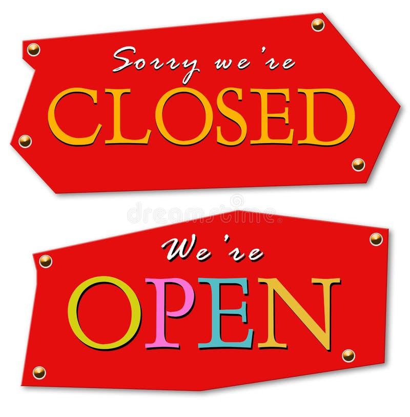 stängd öppen etikett royaltyfri illustrationer