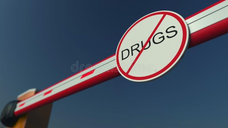 Stängd barriärport med INGET DROGtecken begreppsmässigt framförande 3d royaltyfri bild