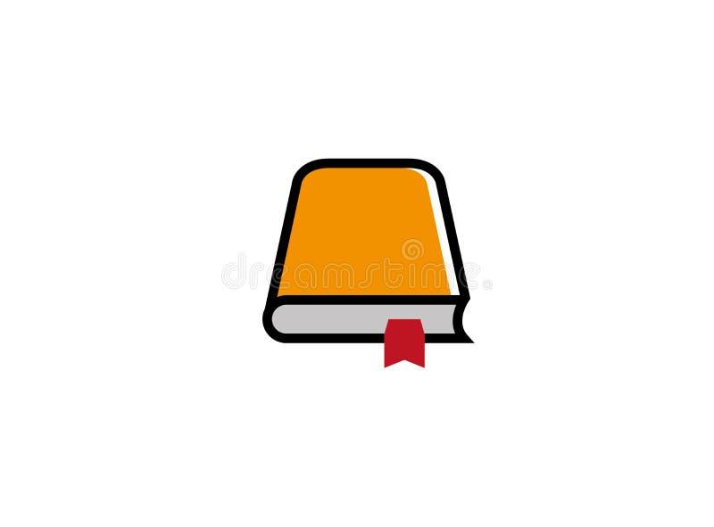 Stängd bok med en sidaetikett för logodesignillustration vektor illustrationer