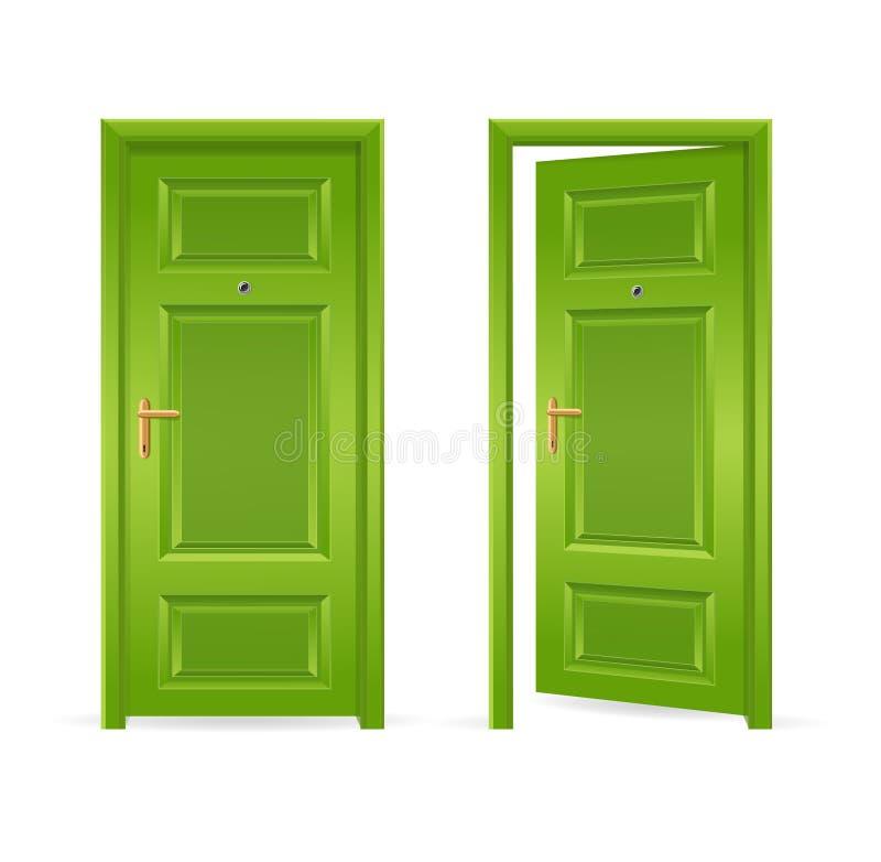 Stängd grön dörr som är öppen och vektor royaltyfri illustrationer