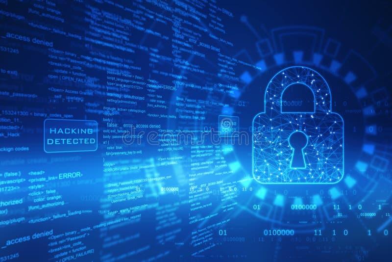 Stängd hänglås på den digitala skärmen, bakgrund för cybersäkerhetsbegrepp royaltyfri illustrationer