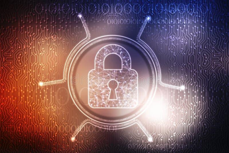 Stängd hänglås på digital bakgrunds-, Cybersäkerhets- och internetsäkerhetsbakgrund stock illustrationer