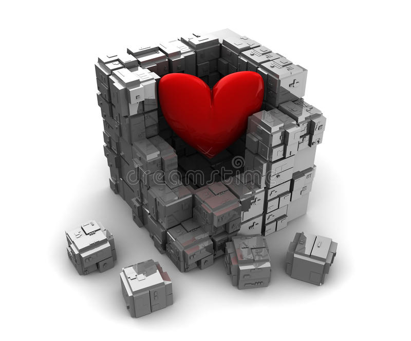 Stängd hjärta stock illustrationer