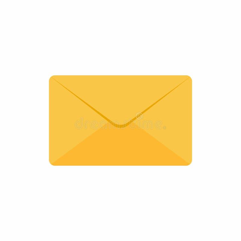 Stängd illustration för vektor för design för guld- gult kuvertsymbolstecken som plan isoleras på vit bakgrund stock illustrationer