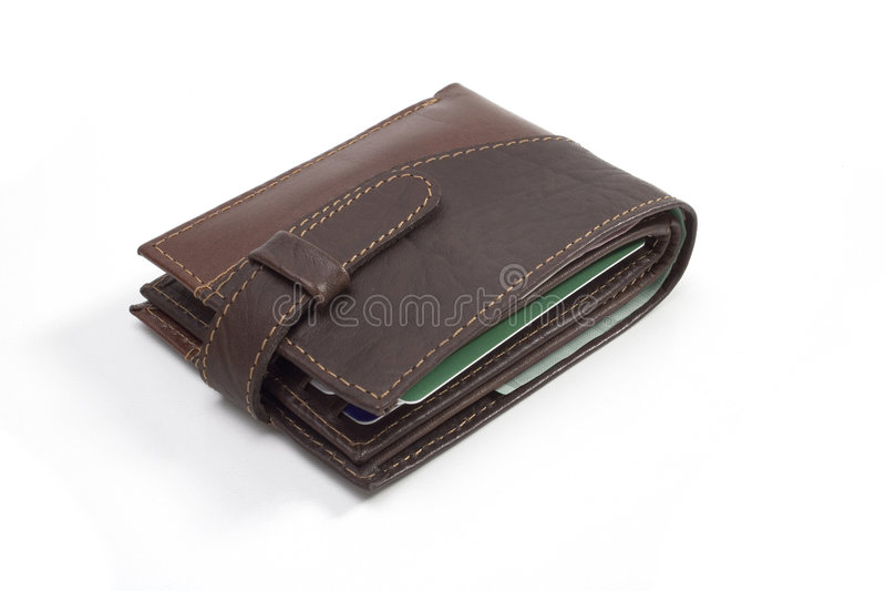 stängd läderplånbok royaltyfri foto