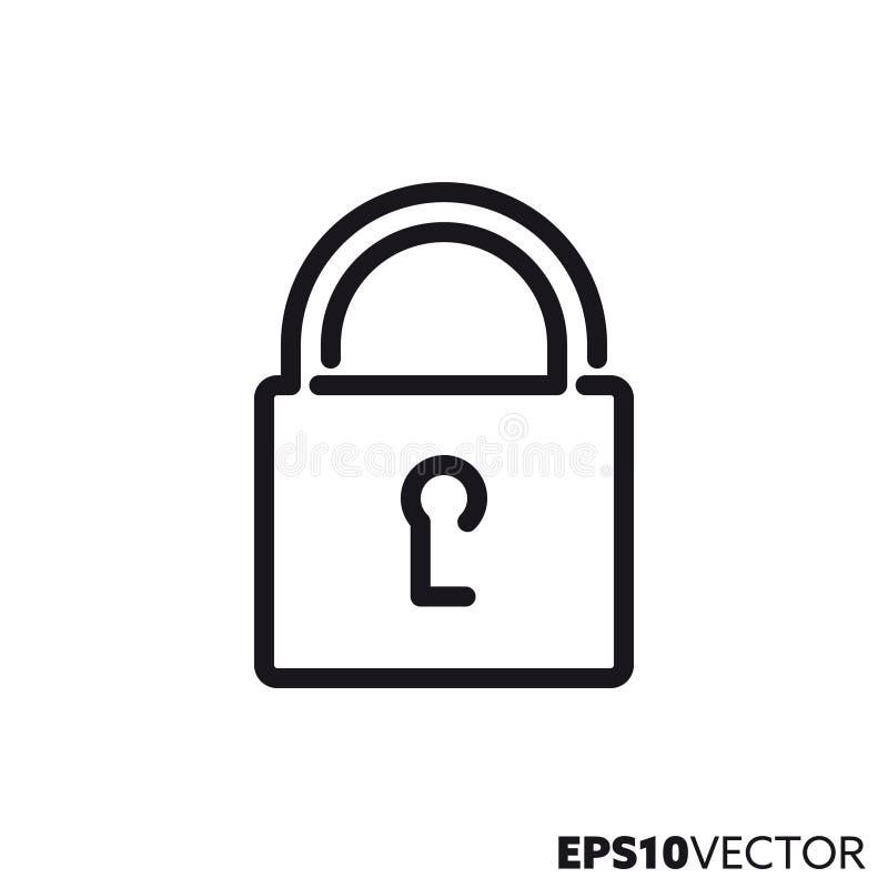 Stängd låsvektorlinje symbol vektor illustrationer