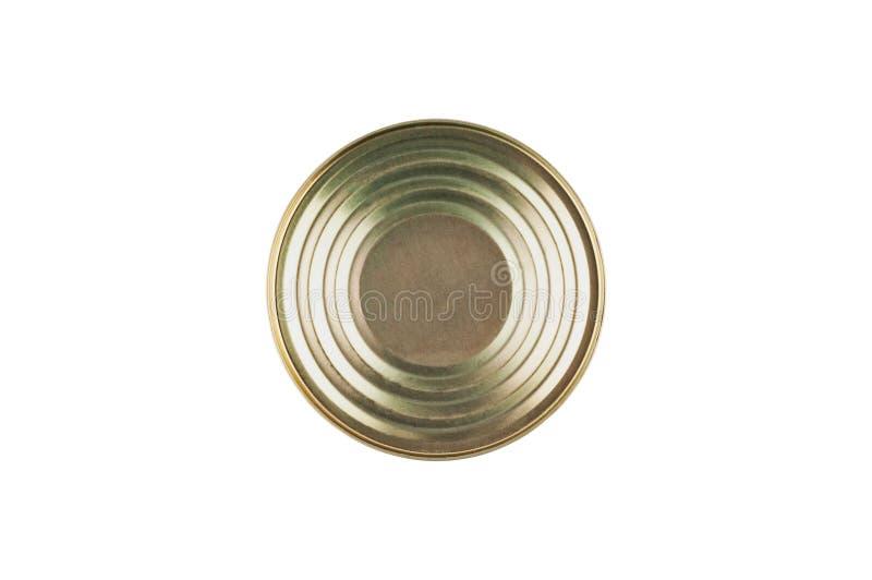 Stängd metall kan med på burk mat, fisken, korn eller kött som isoleras på vit bakgrund royaltyfri fotografi