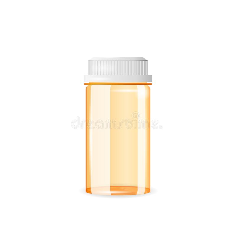 Stängd och tom preventivpillerflaska som isoleras på den vita bakgrunden Realistisk vektorillustration stock illustrationer