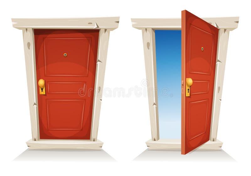 Stängd röd dörr som är öppen och stock illustrationer