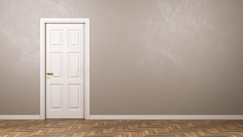 Stängd vit dörr i rummet med Copyspace royaltyfri illustrationer