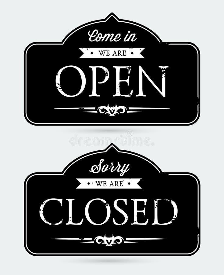 stängda öppna tecken stock illustrationer