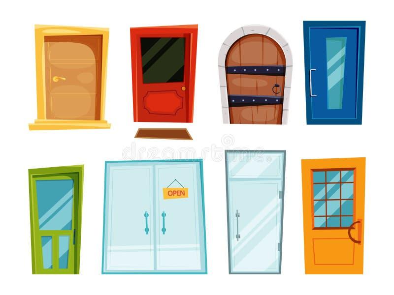 Stängda dörrar av olika typer Vektorillustrationer i tecknad filmstil stock illustrationer