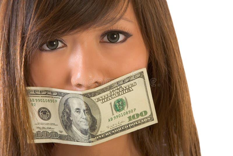 stängda pengar tystade upp kvinna arkivbild