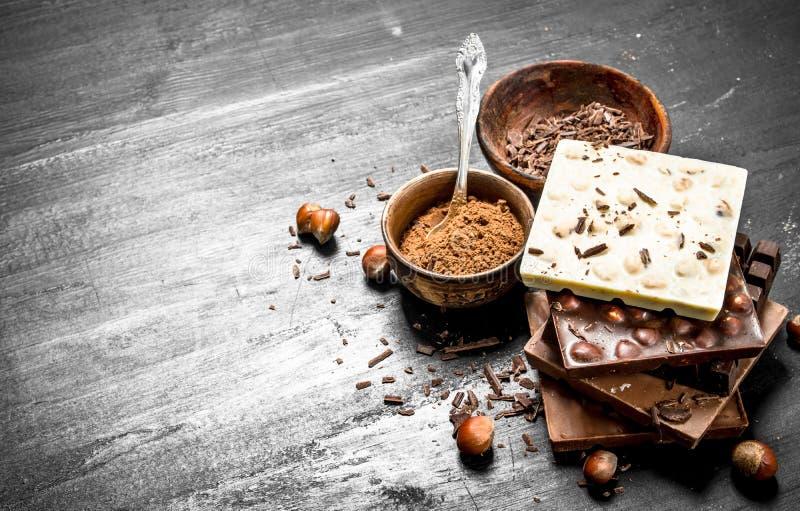 Stänger av olika typer av choklad med kakaopulver royaltyfri fotografi