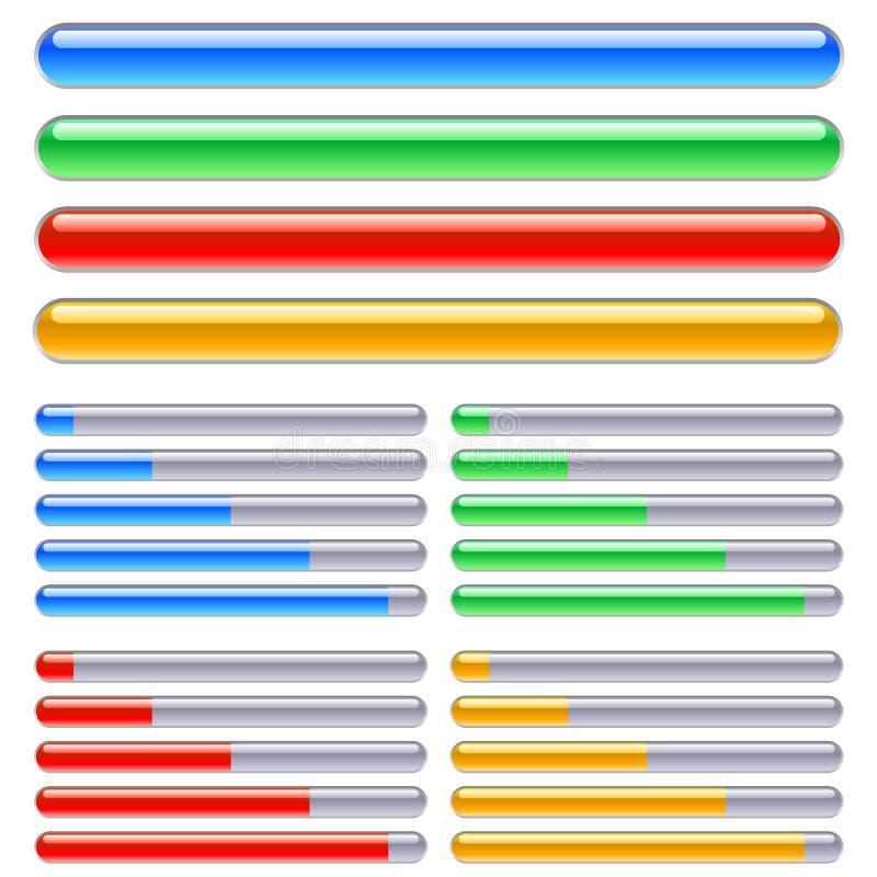 stänger som fyller på progress stock illustrationer